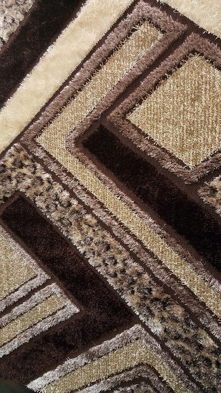 Turkish rugs gloria shaggy 1001 brown area rug turkish for Geometric print area rugs
